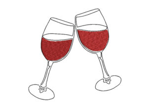 Wine Glasses Wine & Drinks Embroidery Design By Canada Crafts Studio