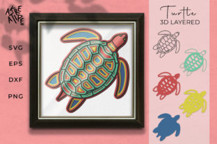 3D Layered Sea Turtle SVG Graphic 3D SVG By akreatipe