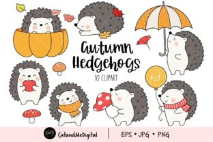 Autumn Hedgehogs Cliparts. Graphic Illustrations By CatAndMe