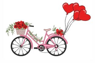 Bicycle with Balloons Valentine's Day Embroidery Design By NinoEmbroidery