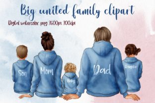 Big United Family Clipart, in Hoodies Graphic Illustrations By Arte de Catrin