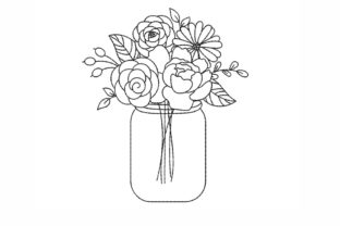 Flowers in a Vase Outline Flowers Embroidery Design By NinoEmbroidery