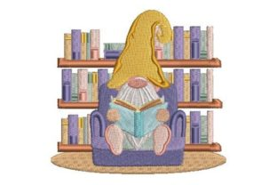 Gnome Sitting in a Library Games & Leisure Embroidery Design By Embroidery Designs