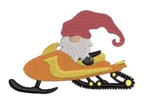 Gnome on a Snowmobile Winter Embroidery Design By Embroidery Designs