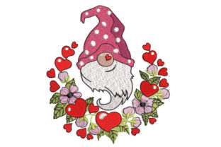 Gnome with Flowers and Hearts Valentine's Day Embroidery Design By Canada Crafts Studio