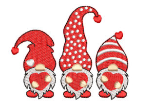 Gnomes with Hearts Valentine's Day Embroidery Design By Canada Crafts Studio