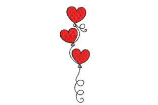 Heart Balloons Valentine's Day Embroidery Design By Canada Crafts Studio