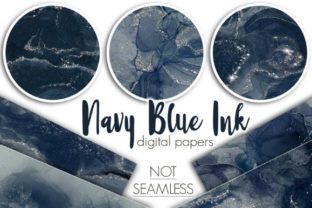 Navy Blue Ink Digital Papers Graphic Patterns By Tanya Kart