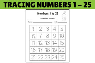 Print on Demand: Number Tracing Worksheet 1 to 25 Graphic PreK By kidobolt