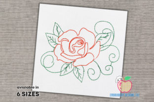 Outline Rose Outline Flowers Embroidery Design By embroiderydesigns101