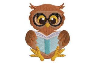 Owl Reading a Book Birds Embroidery Design By Embroidery Designs