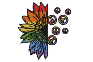 Pride Sunflower Peace Sign Awareness Embroidery Design By Embroidery Designs