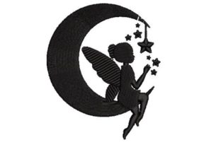 Silhouette of a Fairy Sitting Fairy Tales Embroidery Design By Embroidery Designs