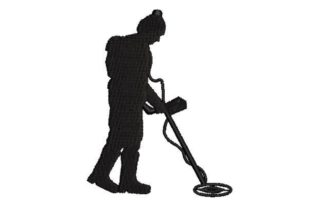 Silhouette of a Metal Detector Hobbies & Sports Embroidery Design By Embroidery Designs