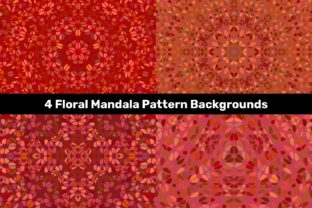 4 Red Floral Mandala Pattern Backgrounds Graphic Backgrounds By davidzydd