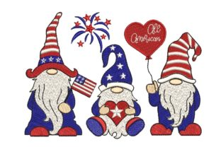 Print on Demand: 4th of July Patriotic Gnomes Independence Day Embroidery Design By ArtEMByNatali