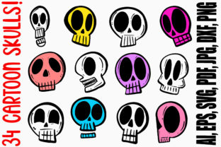 Print on Demand: Cartoon Human Skulls Collection Drawing Graphic Illustrations By squeebcreative