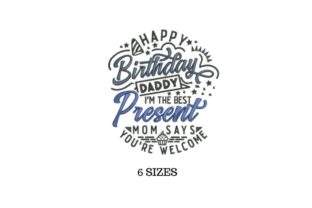 Daddy Present Father's Day Embroidery Design By SVG Digital Designer