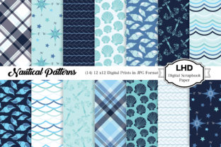 Digital Papers - Nautical Sea Patterns Graphic Patterns By LeskaHamatyDesign