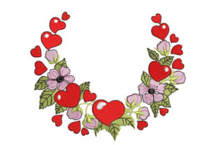 Floral Wreath with Hearts Floral Wreaths Embroidery Design By Canada Crafts Studio