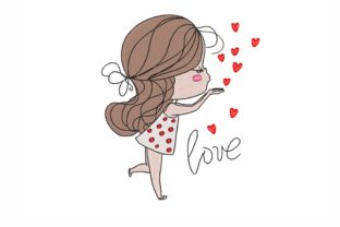 Girl Valentine's Day Embroidery Design By NinoEmbroidery