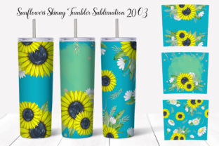 Tumbler Wrap Sunflowers Sublimation. Graphic Add-ons By WatercolorColorDream