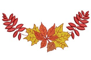 Print on Demand: Autumn Bouquet of Leaves Autumn Embroidery Design By ArtEMByNatali