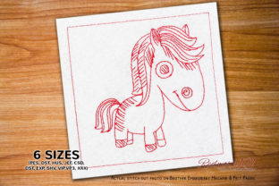 Doodle Horse Horses Embroidery Design By Redwork101