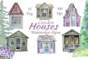 Print on Demand: Garden Houses Watercolor Clipart Graphic Illustrations By Marine Universe 1