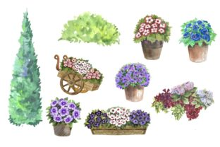 Print on Demand: Garden Houses Watercolor Clipart Graphic Illustrations By Marine Universe 2