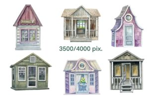 Print on Demand: Garden Houses Watercolor Clipart Graphic Illustrations By Marine Universe 4
