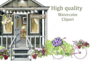 Print on Demand: Garden Houses Watercolor Clipart Graphic Illustrations By Marine Universe 5
