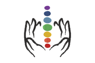 Print on Demand: Hands Holding the 7 Chakras Awareness & Inspiration Embroidery Design By Dizzy Embroidery Designs