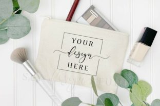 Makeup Bag Mockup Canvas Zipper Pouch Graphic Product Mockups By SlyDesignStudio