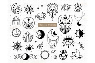 Mystic Boho Moon and Crystal Bundle Graphic Illustrations By MySpaceGarden