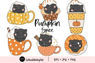 Pumpkin Spice Cat Clipart Graphic Illustrations By CatAndMe