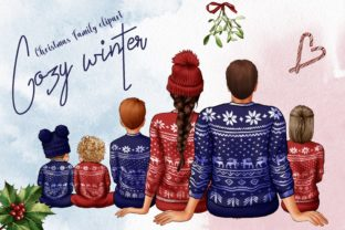 Christmas Family Clipart, Cozy Winter Graphic Illustrations By Arte de Catrin