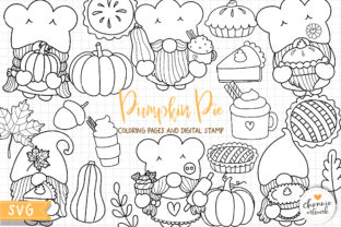 Print on Demand: Gnome Pumpkin Pie Coloring Pages, SVG Graphic Illustrations By Chonnieartwork