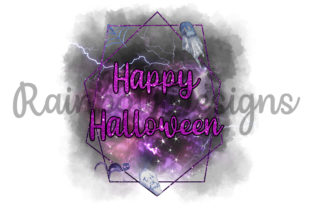 Print on Demand: Happy Halloween Watercolour Frame Graphic Print Templates By RainbowDesigns