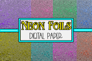 Print on Demand: Neon Aluminum Foil Digital Paper Graphic Textures By Mary's Designs