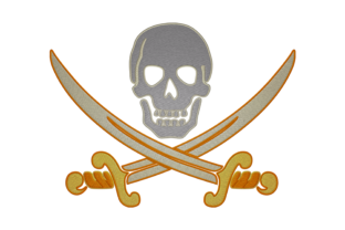 Print on Demand: Symbol of Pirate Hobbies & Sports Embroidery Design By embroidery dp