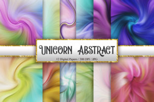 Print on Demand: Unicorn Abstract Digital Papers Graphic Backgrounds By PinkPearly