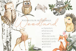 Print on Demand: Woodland Animal Watercolor Graphic Illustrations By laffresco04 1
