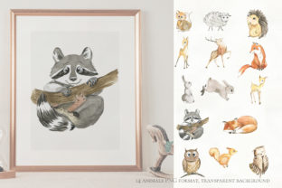 Print on Demand: Woodland Animal Watercolor Graphic Illustrations By laffresco04 5