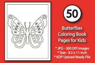 50 Butterflies Coloring Pages for Kids Graphic KDP Interiors By eliteasia