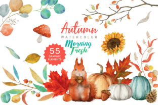 Print on Demand: Autumn Leaves Watercolor PNG Elements Graphic Illustrations By nesdigiart