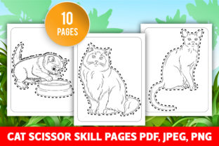 Cat Scissor Skill Pages for KIds (KDP) Graphic Coloring Pages & Books Kids By GRAPHICSMINE