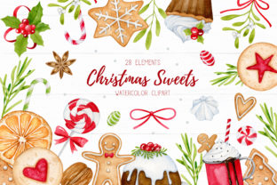 Christmas Sweets Watercolor Clipart Graphic Illustrations By SipkaDesigns