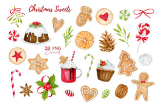 Christmas Sweets Watercolor Clipart Graphic Illustrations By SipkaDesigns 2