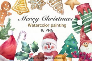 Print on Demand: Christmas Set Watercolor Clip Art Graphic Illustrations By aekgasit